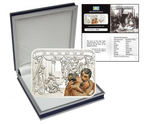 Palau 5 Dollars 20g Silver Proof Coin, 2011, Grand Opera's Production of Carmen