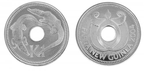 Papua New Guinea 1 Kina 14g Nickel Plated Steel Coin, 2004, KM # 6a, Crocodile, Mint