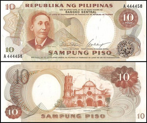 Philippines 10 Piso Banknote, ND 1969, P-144a, UNC