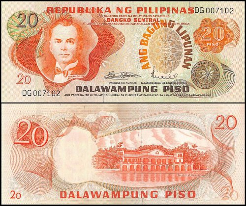 Philippines 20 Piso Banknote, ND 1974-85, P-155, UNC