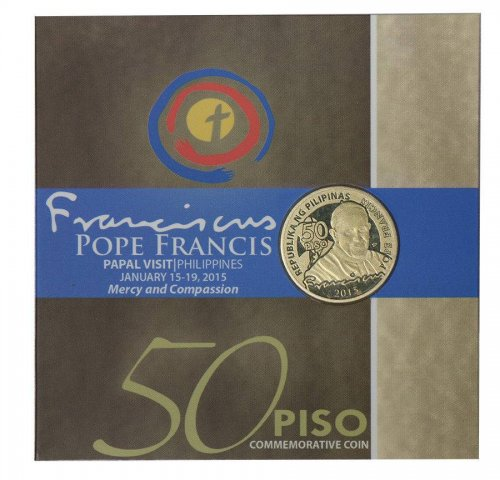 Philippines 50 Piso 7g Nickel Brass Coin, 2015, Mint, Pope Francis Visit