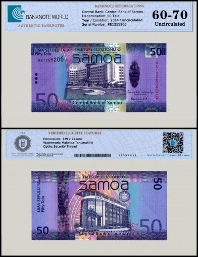 Samoa 50 Tala Banknote, 2014, P-41b, UNC, TAP 60 - 70 Authenticated