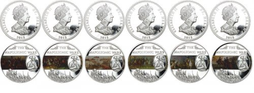 Saint (St.) Helena 25 Pence 6 Pieces AG Coin Set, 2013, Napoleonic Battles Wars, Queen Elizabeth II