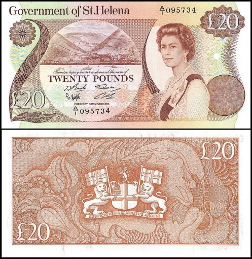 Saint - St. Helena 20 Pounds Banknote, 1986, P-10a, Queen Elizabeth II