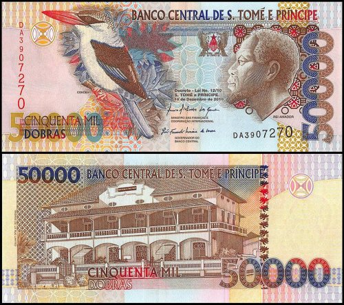 Saint Thomas and Prince 50,000 Dobras Banknote, 2010, P-68d, UNC