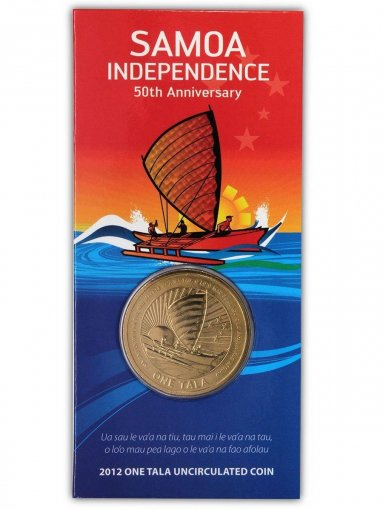 Samoa 1 Tala 20g Zinc/Bronze Coin, 2012, 50th Anniversary of Samoa Independence