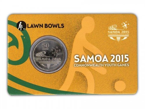 Samoa 50 Sene 5g Ni Plated Coin, 2015, Commonwealth Youth Games - Lawn Bowling