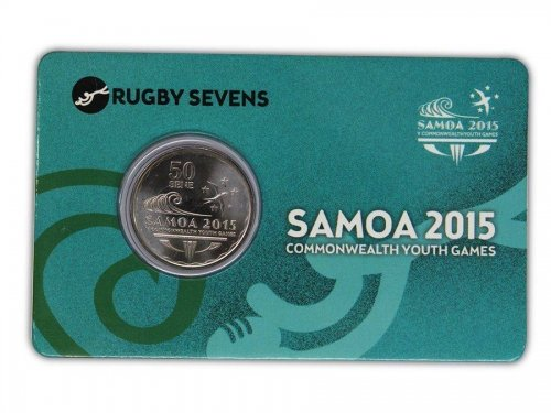 Samoa 50 Sene 5g Ni Plated Coin, 2015, Commonwealth Youth Games - Rugby Seven