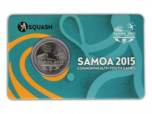 Samoa 50 Sene 5g Ni Plated Coin, 2015, Mint, Commonwealth Youth Games - Squash