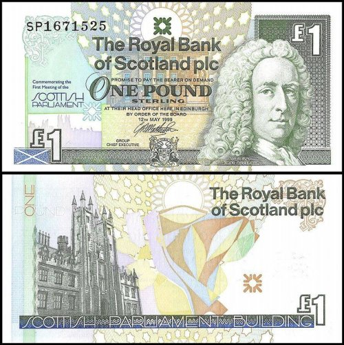 Scotland 1 Pound Banknote, 1999, P-360, Commemorative, UNC