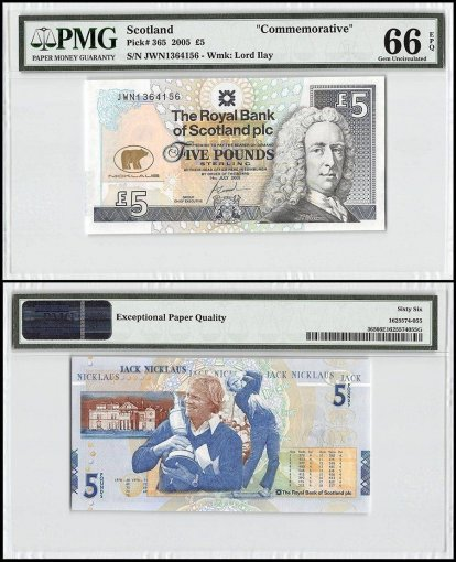 Scotland 5 Pounds, 2005, P-365, Commemorative, PMG 66