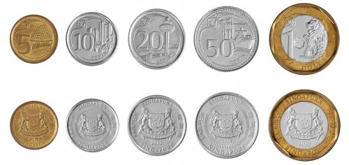 Singapore 5 Cents - 1 Dollar, 5 Piece Coin Set, 2013, KMS # 2105, Mint
