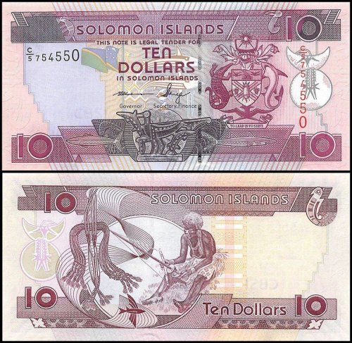 Solomon Islands 10 Dollars Banknote, 2009, P-27c, UNC