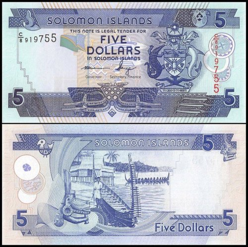Solomon Islands 5 Dollars Banknote, 2012, P-32, UNC