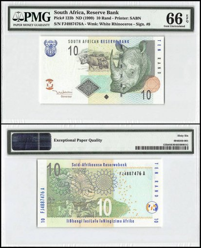 South Africa 10 Rand, 1999, P-123b, PMG 66