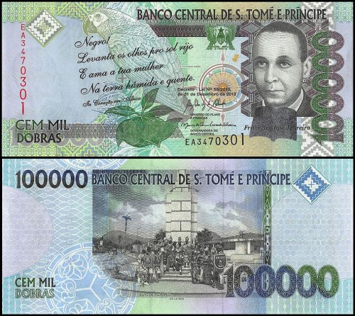 St Thomas and Prince 100,000 Dobras Banknote, 2013, P-69e, UNC, Francisco Jose Tenreiro