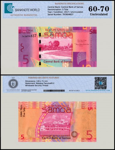 Samoa 5 Tala Banknote, 2017, P-38, UNC, TAP 60 - 70 Authenticated