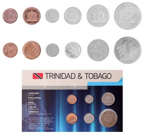 Trinidad & Tobago 1 Cent - 1 Dollar, 6 Piece Coin Set, 1979-2012, KM # 29-33, Mint, Holder