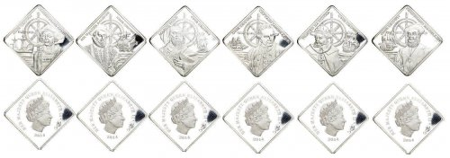 Tristan Da Cun One Crown Silver Plated, 6 Piece Coin Set, Explorers of the World, Queen Elizabeth II