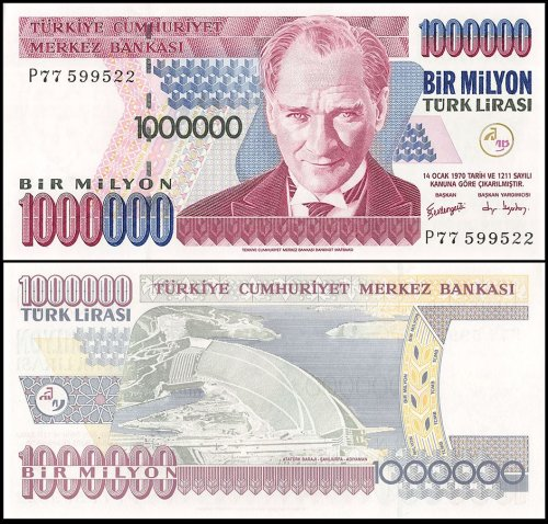 Turkey 1 Million Lira Banknote, 1995, P-209, Prefix-P, UNC