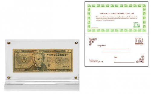 USA 20 Dollars, Series 2006, Novelty Gold Banknote, President Andrew Jackson