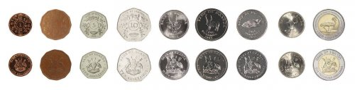 Uganda 1 - 1,000 Shillings, 9 Piece Coin Set, 1987-2015, Animals, Plants