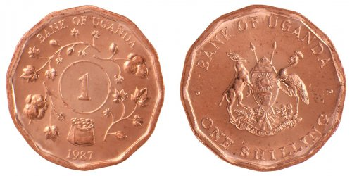 Uganda 1 Shilling 4g Copper Plated Coin, 1987, KM # 27, Mint, Animals, Plants