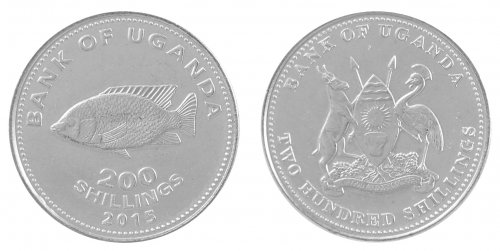 Uganda 200 Shillings 8g Nickel Plated Coin, 2015, KM # 68a, Mint, Animals, Fish