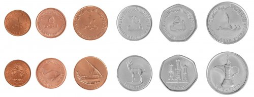 United Arab Emirates - UAE 1 Fils - 1 Dirham, 6 Piece Full Coin Set, 1973-2014, Mint