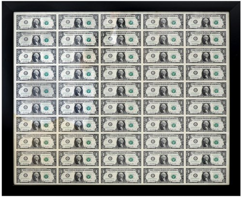 United States of America - USA 1 Dollar, 2013, P-537, UNC, 50 Piece Framed Uncut Sheet