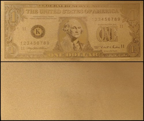 United States of America - USA 1 Dollar, Series 1995, Novelty / Fantasy Gold, President George Washington