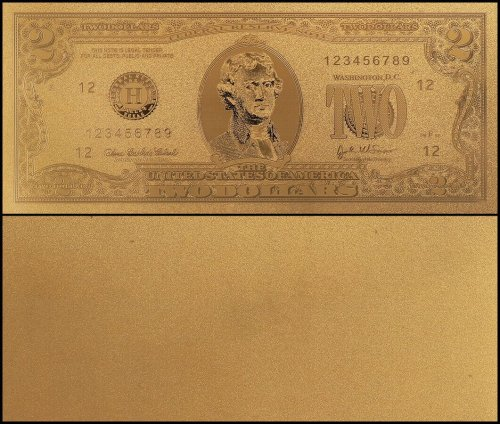 United States of America - USA 2 Dollars, Novelty / Fantasy Gold, President Thomas Jefferson