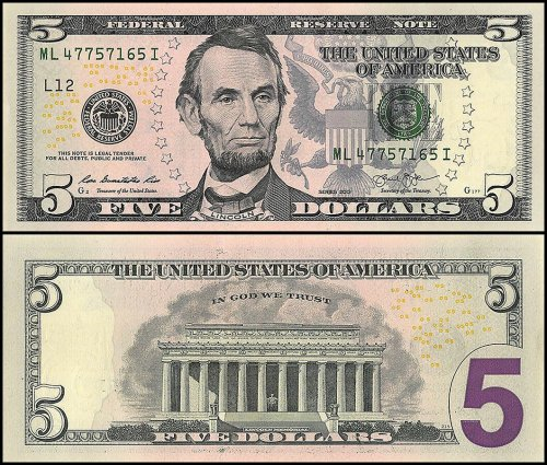 United States of America - USA 5 Dollars Banknote, 2013, P-539, UNC