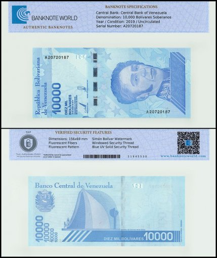 Venezuela 10,000 Bolivar Soberano, 2019, P-NEW, UNC, TAP Authenticated