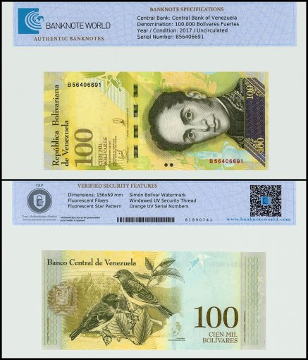 Venezuela 100,000 Bolivar Fuerte, 2017, P-100b2, UNC, TAP Authenticated
