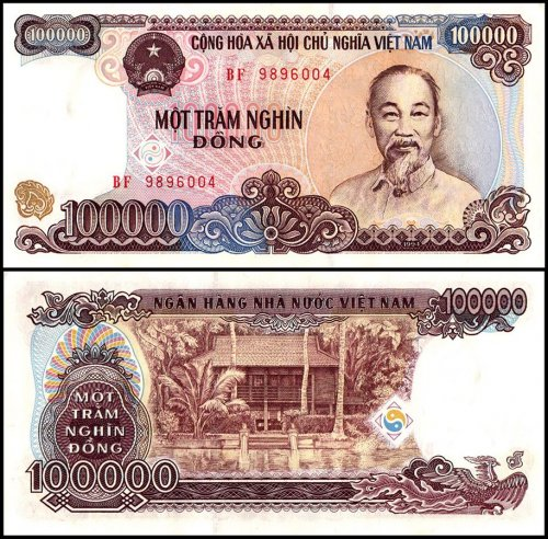 Vietnam 100,000 Dong Banknote, 1994, P-117a, AU - About Uncirculated