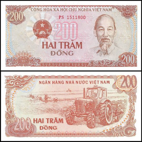 Vietnam 200 Dong Banknote, VND, 1987, P-100a, UNC