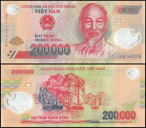 Vietnam 200,000 Dong Banknote, 2006-2016, P-123, Polymer, USED
