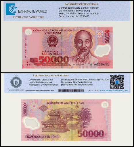 Vietnam 50,000 Dong Banknote, 2014, P-121j, UNC, TAP Authenticated