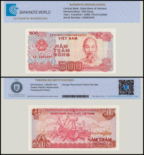 Vietnam 500 Dong Banknote, 1988, P-101a, UNC, TAP Authenticated