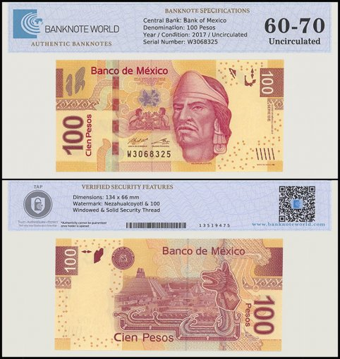 Mexico 100 Pesos Banknote, 2017, P-124, UNC, TAP 60-70 Authenticated