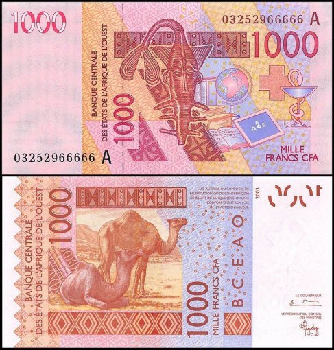 West African States 1,000 Francs Banknote, 2003, P-115Aa, UNC, Prefix-A