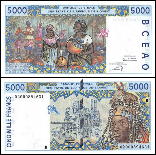 West African States 5,000 Francs Banknote, 2002, P-213Bl, UNC