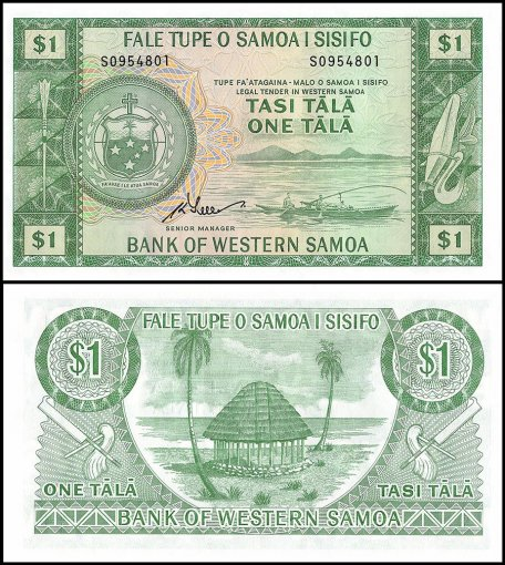 Western Samoa 1 Tala Banknote, 1967, P-16d, Limited Official Reprint, UNC