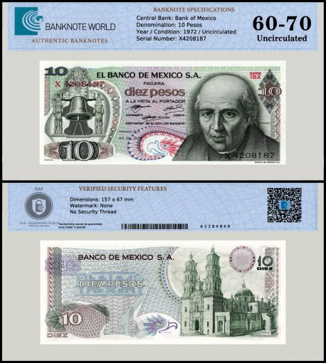 Mexico 10 Pesos Banknote, 1972, P-63e, Series 1BX, UNC, TAP 60 - 70 Authenticated