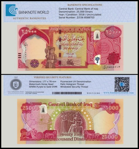 Iraq 25,000 Dinars Banknote, 2018, P-102c, UNC, TAP Authenticated