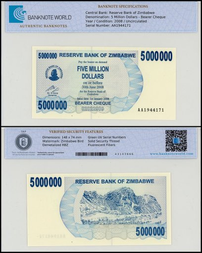 Zimbabwe 5 Million Dollars Bearer Cheque, P-54, UNC, TAP Authenticated