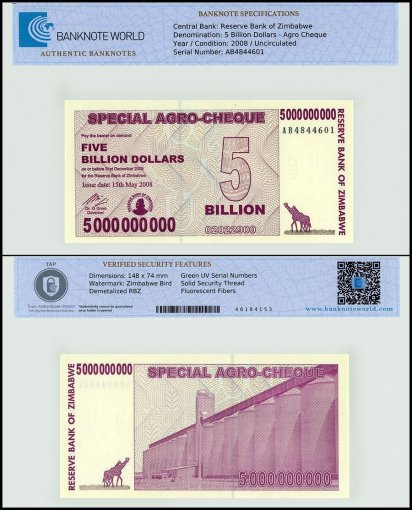 Zimbabwe 5 Billion Dollars Agro Cheque, 2008, P-61, UNC TAP Authenticated