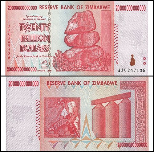 Zimbabwe 20 Trillion Dollars Currency, AA/2008, P-89, UNC, 50 & 100 Trillion Series