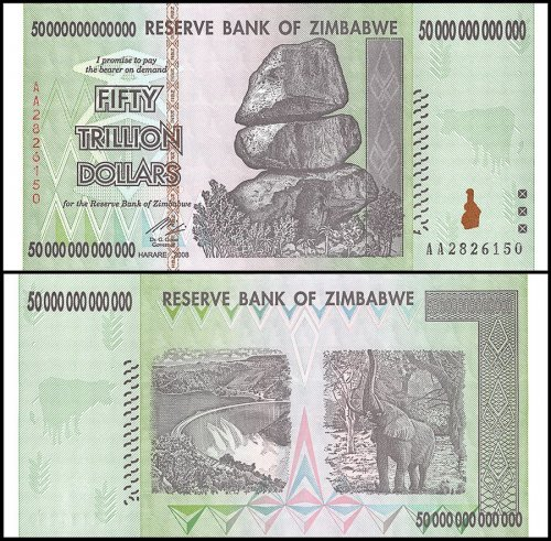 Zimbabwe 50 Trillion Dollars Series, AA/2008, P-90, UNC, 100 Trillion